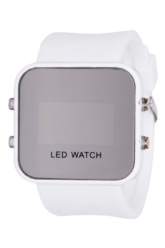 White LED Mirror Digital Sport Watch Unisex for Men and Ladies Silicone Jelly Band-White