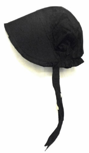 100% Black Cotton Prairie Pilgrim Amish Bonnet Medium Thanksgiving Hat