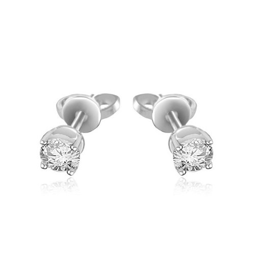0.60ct Round Brilliant Diamond Stud Earrings for Women H/SI1 in 18ct white gold -E106