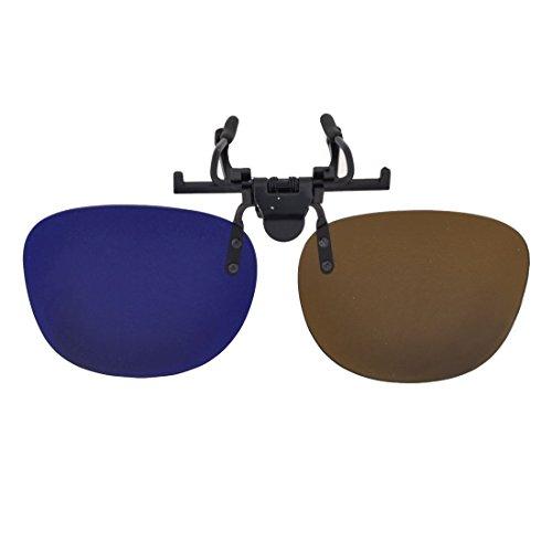3D Blue Brown Stereoscopic Lens Flip out Clip on Eye Glasses