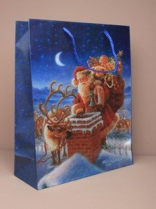 PACK of 12  Large Santa & Rudolf on Rooftop Christmas Gift Bags