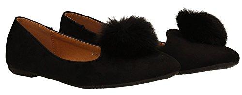 zara-womens-fur-ball-pom-pom-flat-shoes-suede-slip-on-black-ballet-pumps-ladies-shoes-eu-41-uk-8