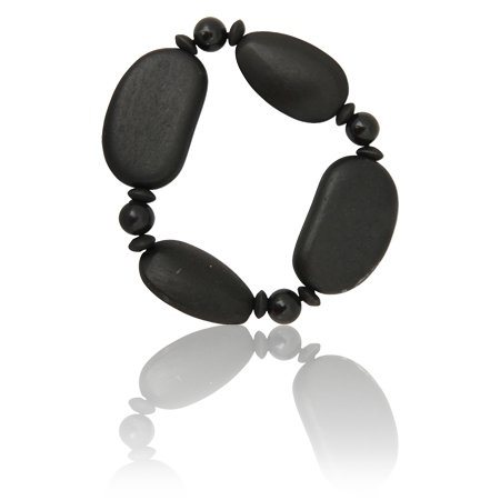 MizEllie Costume Jewellery Wooden Shapes Bangle Bracelet in Black For Teens