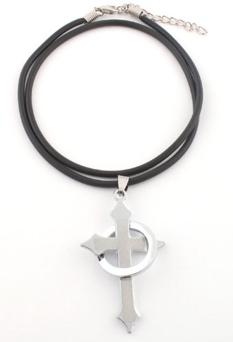 Ladies Silver Our Father (Padre Nuestro) Cross with Ring Pendant with a 20 Inch Adjustable Rubber Chord Necklace