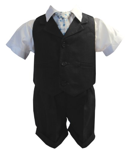 G240 Baby Toddler Boy Summer Suit Vest Short Set (Medium/6-12 Months, Charcoal) front-582719