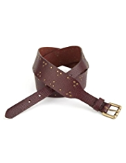 Indigo Collection Leather Studded Waist Belt