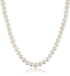 Valero Pearls Classic Collection Damen-Kette Hochwertige Süßwasser-Zuchtperlen in ca.  10 mm Rund weiß 925 Sterling Silber    45 cm   340314