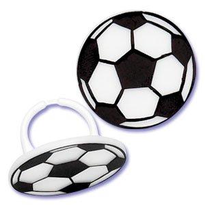 Soccer Ball Cupcake Topper Rings - Set Of 12