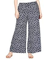 Plus Cherry Print Wide Leg Beach Trousers
