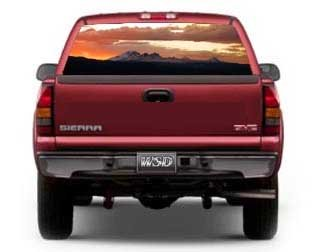 "See Through Rear Window Graphic with Newberry Volcanic National Monument Bend Oregon - 21.5"" h x 65"" w (Full Sized Trucks)"