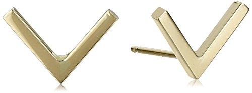 14k-Yellow-Gold-V-Shape-Stud-Earrings