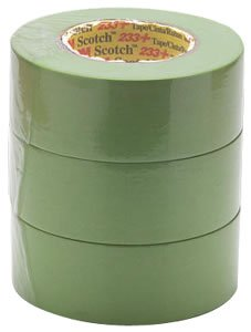 """3M Scotch 233+ Performance Paper Masking Tape, 60 yds Length x 2"""" Width, Green (Case of 12)"""