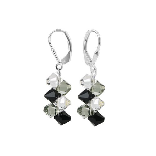 SCER010 Sterling Silver Simple Beauty Black Clear Crystal Earrings Made with Swarovski Elements: Dangle Earrings: Jewelry