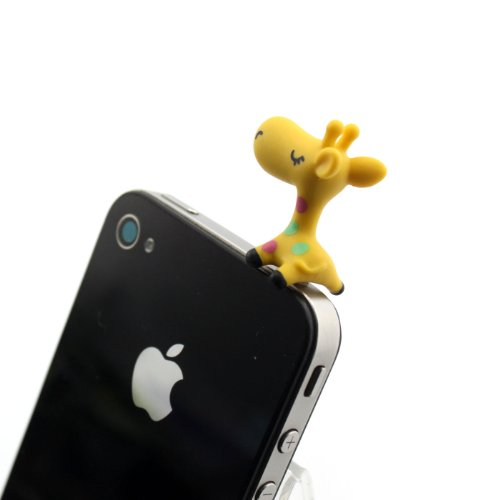 Nine States Hard Plastic Lovely Cartoon Giraffe 3.5Mm Headphone Jack Anti Dust Plug Ear Cap For Iphone 5 5S 5C Iphone4,4S,Ipad ,Ipod Touch ,Samsung Galaxy S3 S4 Note 3 Note2,Blackberry And Other Cellphone (Yellow)