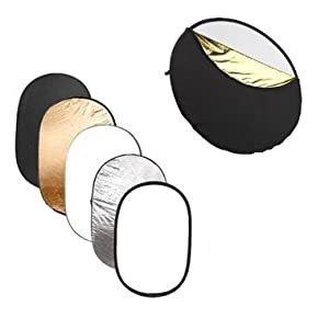 "Ex-Pro 5 -in- 1 Photographic Light Reflector - 47"" x 70"" (120cm x 180cm) Silver, Gold, Black, White & Translucent, Collapsible."