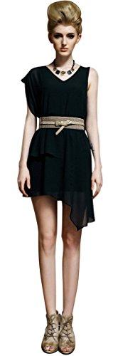 Clor Womens Faux Leather Buckle Elastic Waist Cinch Belt - Ivory S