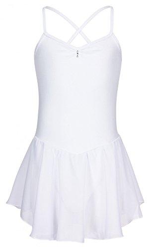 """tanzmuster Kinder Ballett Trikot """"Maja"""" - Ballettanzug mit Chiffon Rock. Edles Ballettkleid mit Strasssteinen am Ausschnitt in rosa, weiß, schwarz, hellblau, pink und lila."""