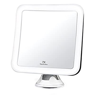 """7X Magnifying LED Lighted Vanity Makeup Mirror - Natural Daylight Bathroom Travel Mirror - Cordless, Battery Power, Suction Mount, 5.2"""" Wide, 360 Rotation, Portable Illuminated Mirror (Square)"""