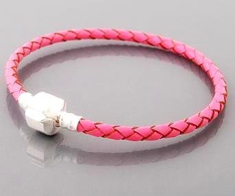 Pink Leather Plaited Bracelet With Silver Plated Copper Clasp - Suitable For European Beads and Charms - Small/Medium: 7