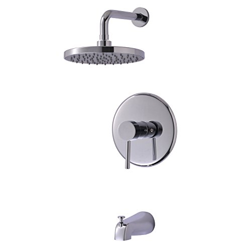 Enzo Rodi ERF8250285CP-B-10 Modern Style Single Handle Tub & Shower Combo Faucet with Pressure Balance Valve Shower Head and Spout Polished Chrome, UPC/cUPC Compliant (Tub Spout And Handles compare prices)