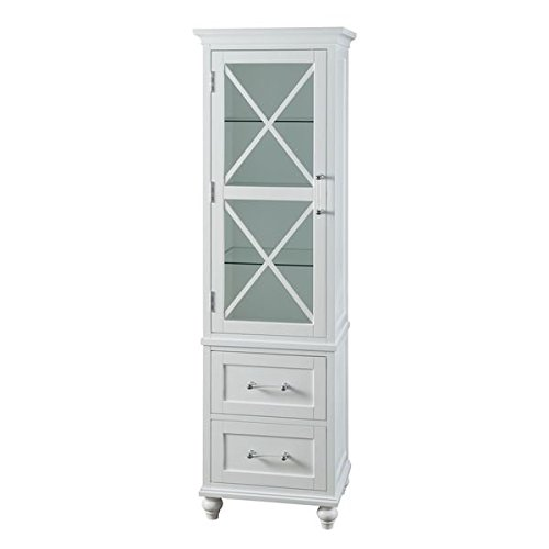 Storage Cabinet with Shelves | Grayson Linen Tower with 2 Drawers by Elegant Home Fashions (Linen Cabinet Glass compare prices)