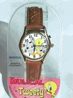 Looney Tunes Tweety Bird Watch – Musical -Black leather watch