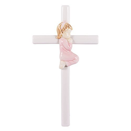 Praying Girl Hand Painted White Porcelain 7.5 inch Wall Cross