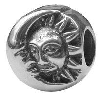 CleverEve Designer Series Zable Astrology Themed Sterling Silver Sun & Moon Faith Charm Bead