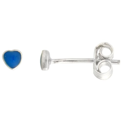 Sterling Silver Tiny Inlaid Sky Blue Resin Stud Earrings / Nose Studs Heart Shape,