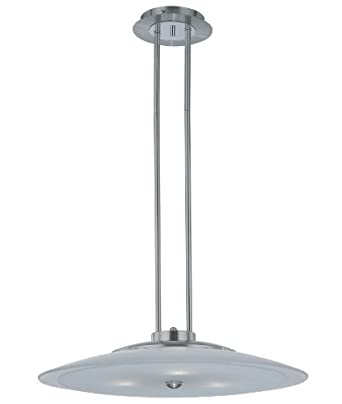 Lite Source LS-19595PS/FRO Ovidio Ceiling Lamp, Polished Steel with Frosted Glass Shade