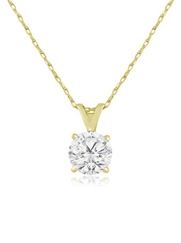 14K Yellow Gold 1-Ct Diamond Solitaire Pendant Necklace