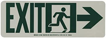 "Brady 81806 14"" Width x 5"" Height B-523 High Intensity Self Sticking Polyester, Glow-In-The Dark Safety Guidance Sign, Legend ""Exit"" (with Running Man - Right Arrow)"