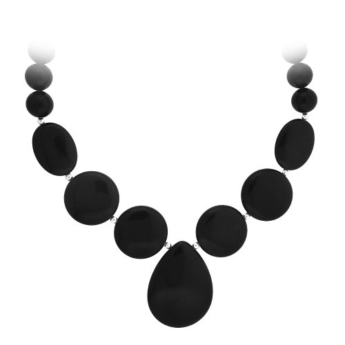 Best Buy! Sterling Silver and Onyx Multi-Shape Bead Necklace, 20""