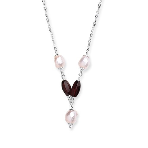 Goldmajor Sterling Silver Cherry Amber and White Fresh Water Pearls Y Drop Collar Necklace of 43cm