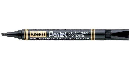 Pentel Lot de 12 Marqueurs permanent N860, noir, pointe biseautée