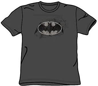 Batman ARCANE BAT LOGO Kids Youth Charcoal Gray T-shirt Tee Shirt, Youth Large 14-16
