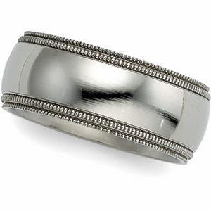 8 mm Titanium Comfort Fit Milgrain Band, Size 4.5