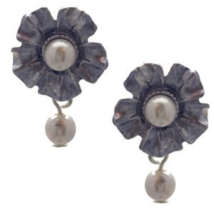 Fiaga Silver Lilac Pearl Clip On Earrings