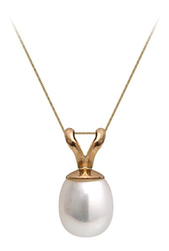 9ct Yellow Gold 5-5.5mm White Cultured Freshwater Pearl Pendant On 9ct Yellow Gold 41cm Chain