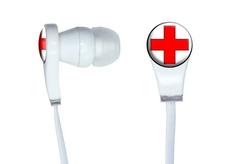 Graphics And More Red Cross Novelty In-Ear Headphones Earbuds - Non-Retail Packaging - White