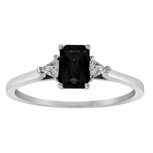 DivaDiamonds Platinum Emerald Cut Created Onyx and Triangle Trillion Diamond Ring (3/4 cttw)