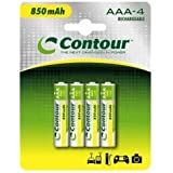 Contour 850mAh 4 x AAA NiMH Rechargeable Batteries