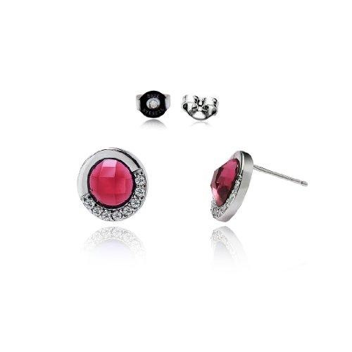 da donna rosso cristallo rotonda stile classico argento 925 Orecchini