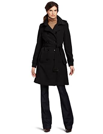 Calvin Klein Women's Double Breasted Belted Trench Coat, Black, X-Small
