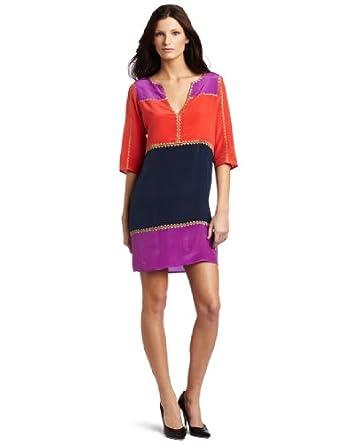 BCBGMAXAZRIA Women's Aidas Color Blocked Shift Dress, Light Magenta Combo, X-Small