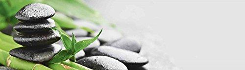 pared de cocina trasera Artland Espejos Protección contra salpicaduras Hightech-aluminio-paneles compuestos Pavel Timofeer Crecimiento - Piedras lava bambú en varios tamaños y colores disponible - Green, 51.4x180 cm