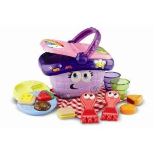 Toy / Game Leapfrog Shapes And Sharing Picnic Basket Includes Food Items, Plates, Forks, Cups, Blanket & Baskets front-989469