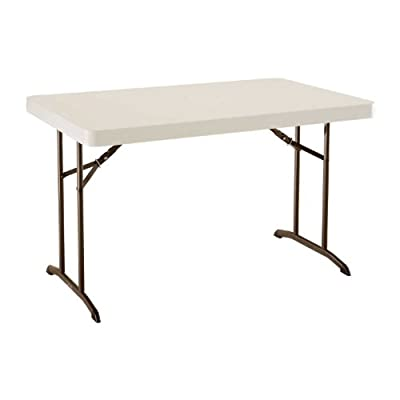 Lifetime 22645 4-Foot Commercial Folding Table, Almond Tabletop with Bronze Frame, 48-Inch X 30-Inch