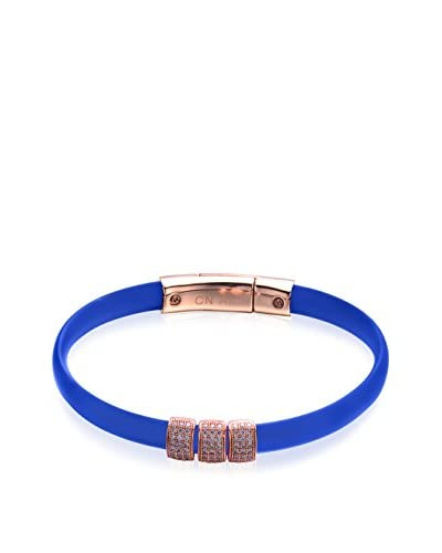 Alberto Moore Blue Rubber Bracelet with CZ Slides