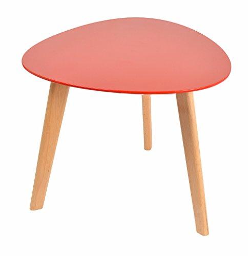 Design-Beistelltisch-Oval-Holz-Buche-Rot-Kaffeetisch-Couchtisch-Nachttisch